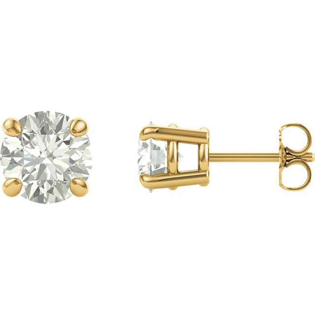 Stunning 14 Karat Yellow Gold 8mm Round Genuine Charles Colvard Forever One Moissanite Earrings