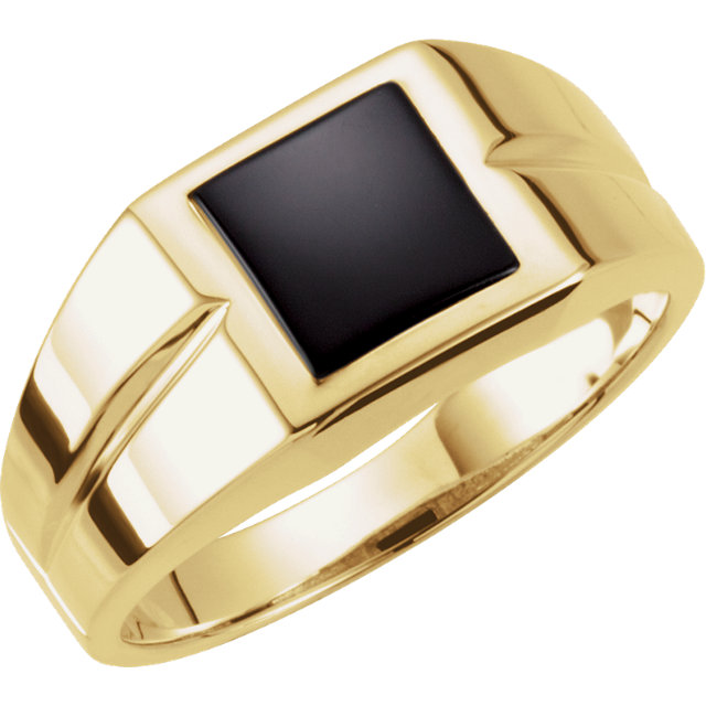 Beautiful 14 Karat Yellow Gold 8mm Square Onyx Ring
