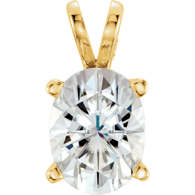 Wonderful 14 Karat Yellow Gold 8x6mm Oval Genuine Charles Colvard Forever One Moissanite Pendant