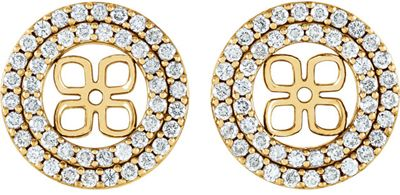 Fine Quality 14 Karat Yellow Gold 0.90 Carat Total Weight Diamond Earring Jackets for 8mm Pearl