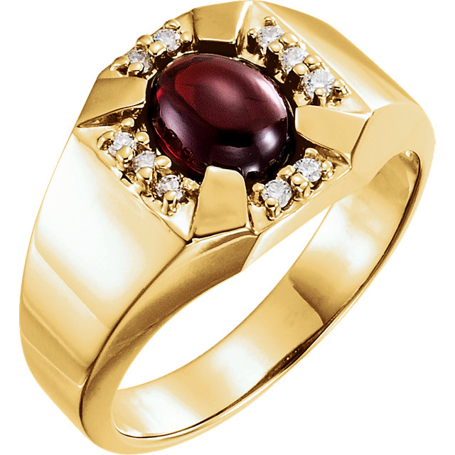 Gorgeous 14 Karat Yellow Gold 9x7mm Cabochon Garnet and Diamond Accented Men's Ring