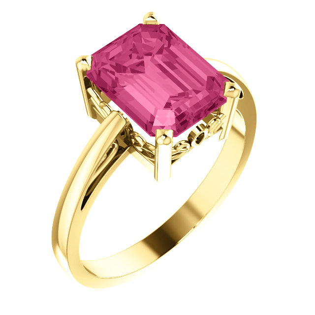 Pink Tourmaline Ring in Best 14 Karat Yellow Gold 9x7mm Scroll Setting Ring Mounting
