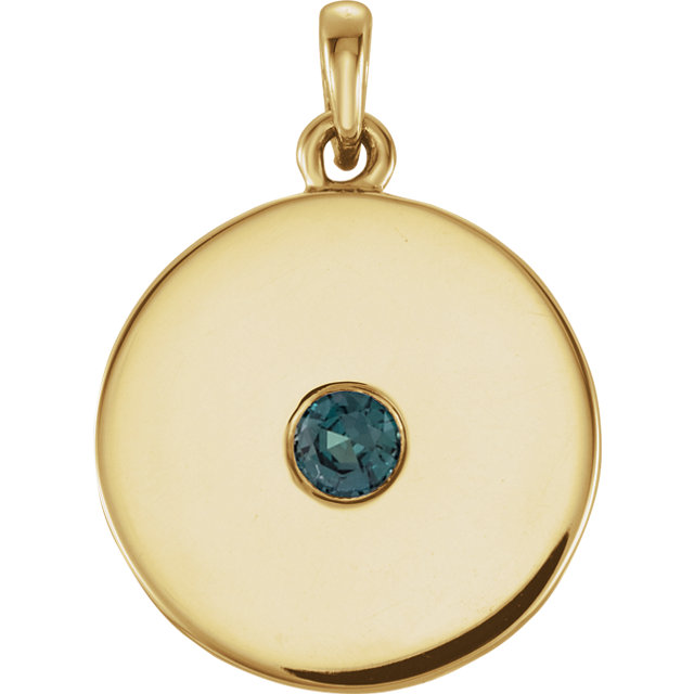14 Karat Yellow Gold Alexandrite Disc Pendant