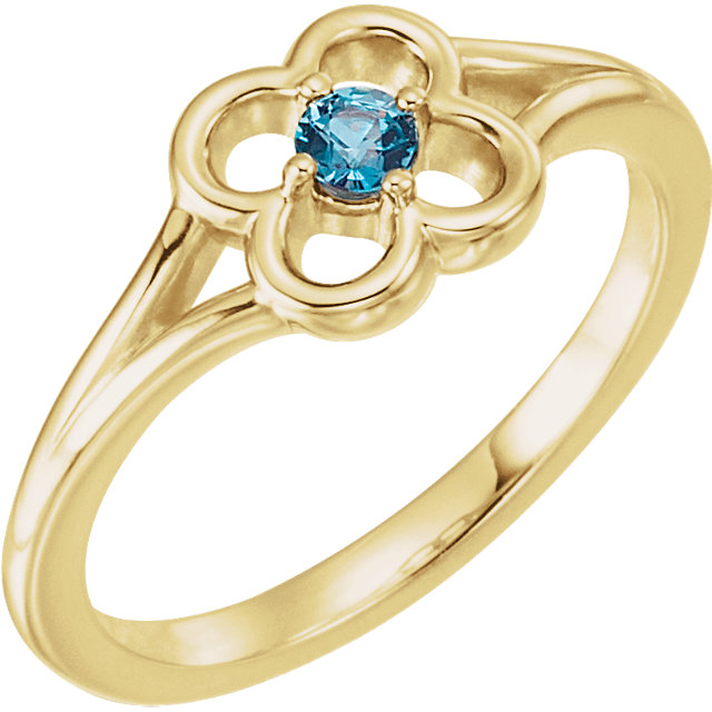 Great Deal in 14 Karat Yellow Gold Alexandrite Flower Youth Ring