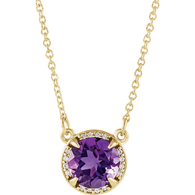 Great Deal in 14 Karat Yellow Gold 6mm Round Amethyst & .04 Carat Total Weight Diamond 16