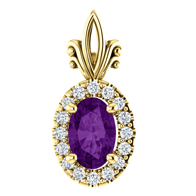 Gorgeous 14 Karat Yellow Gold Amethyst & .08 Carat Total Weight Diamond Pendant