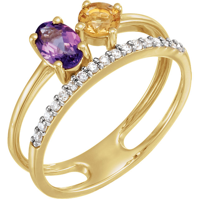 Easy Gift in 14 Karat Yellow Gold Amethyst, Citrine, & 0.12 Carat Total Weight Diamond Ring