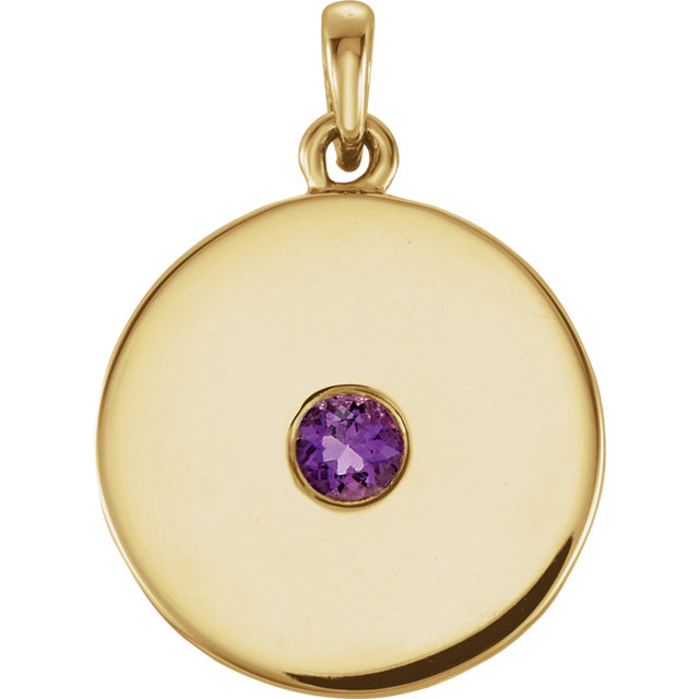 Great Gift in 14 Karat Yellow Gold Amethyst Disc Pendant
