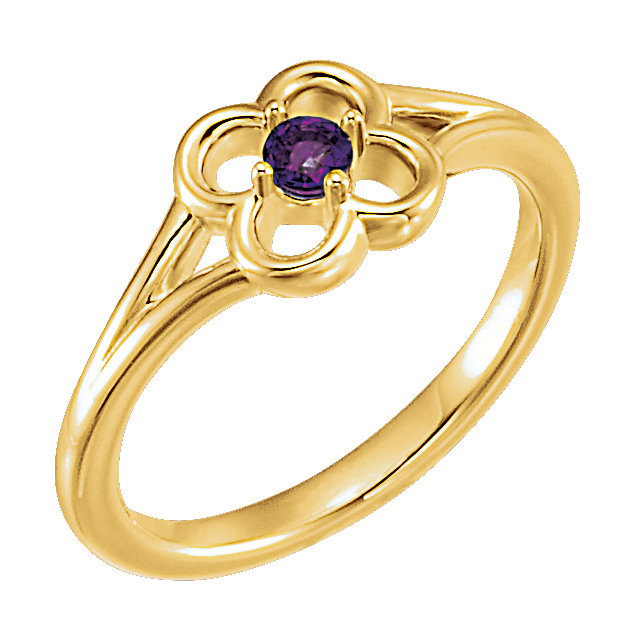 Genuine 14 KT Yellow Gold Amethyst Flower Youth Ring