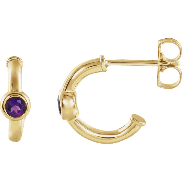 Contemporary 14 Karat Yellow Gold Amethyst J-Hoop Earrings