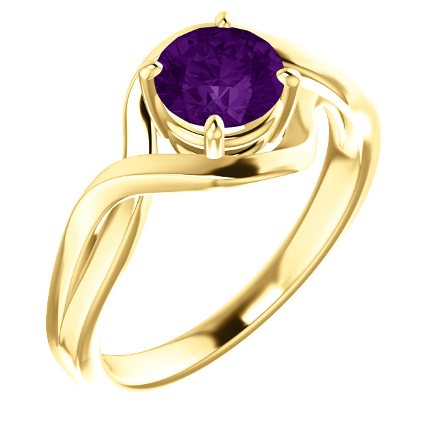 Quality 14 KT Yellow Gold Amethyst Ring