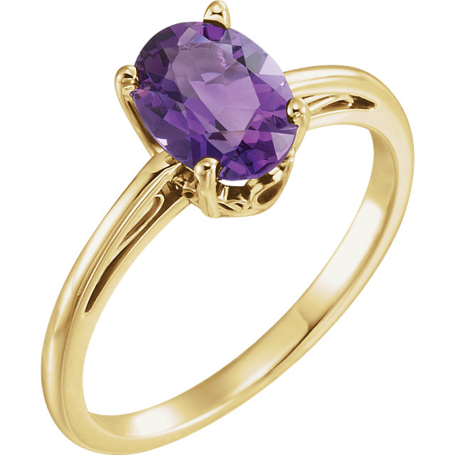 Eye Catchy 14 Karat Yellow Gold Amethyst Ring