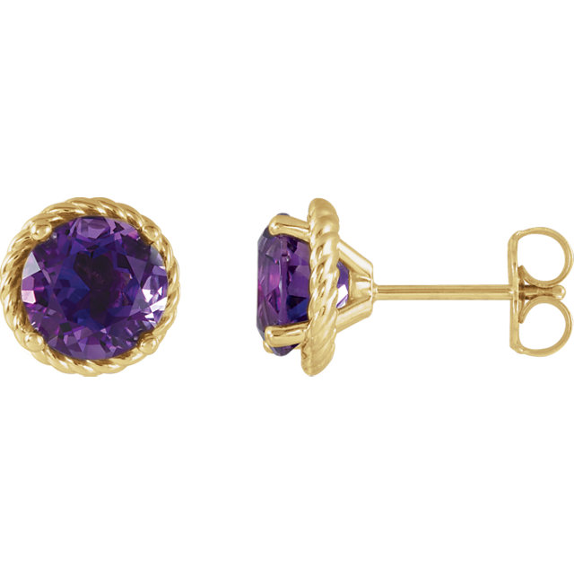 Chic 14 Karat Yellow Gold Amethyst Rope Earrings