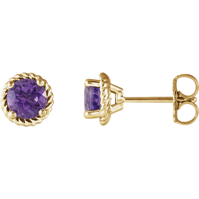 Low Price on 14 KT Yellow Gold Amethyst Rope Earrings