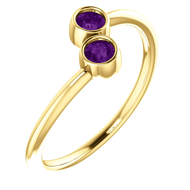 Great Deal in 14 Karat Yellow Gold Amethyst Two-Stone Ring