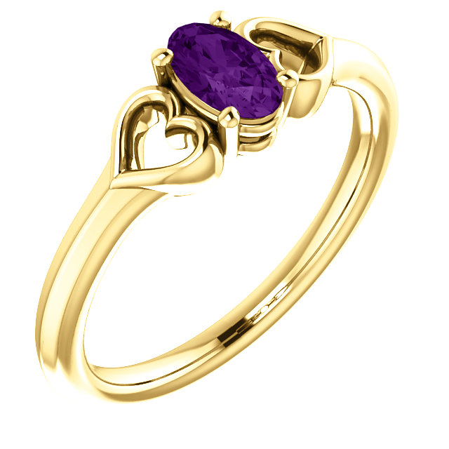 Contemporary 14 Karat Yellow Gold Amethyst Youth Heart Ring