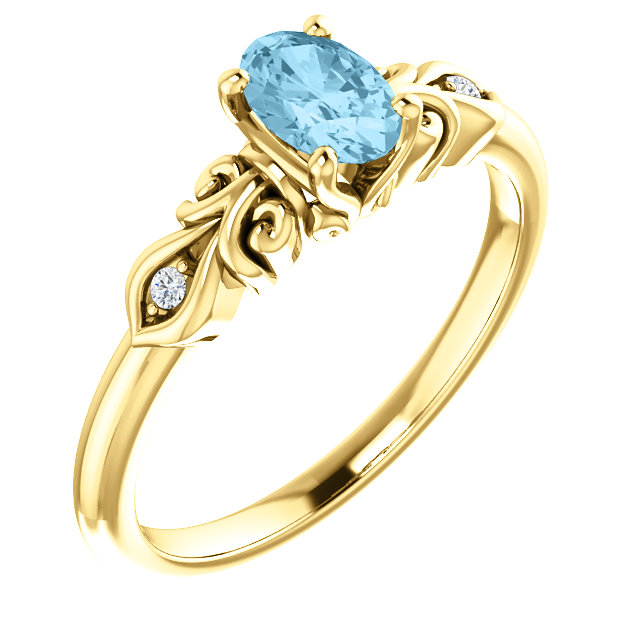 Perfect Jewelry Gift 14 Karat Yellow Gold Aquamarine & .02 Carat Total Weight Diamond Ring