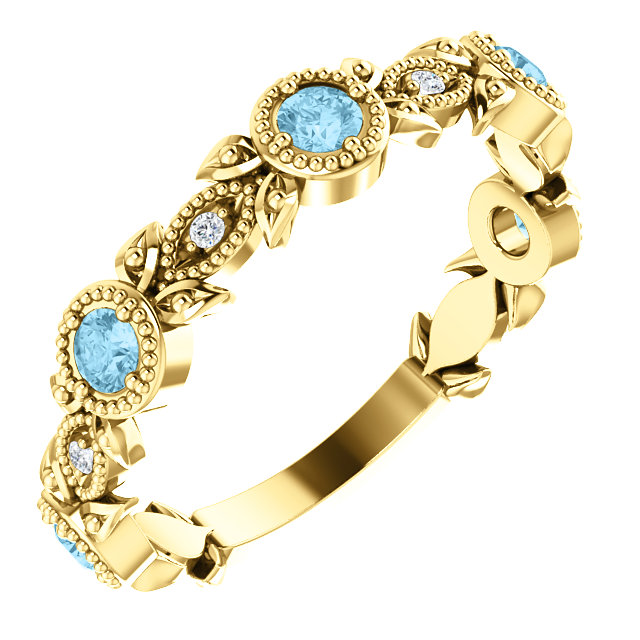 Appealing Jewelry in 14 Karat Yellow Gold Aquamarine & .03 Carat Total Weight Diamond Leaf Ring