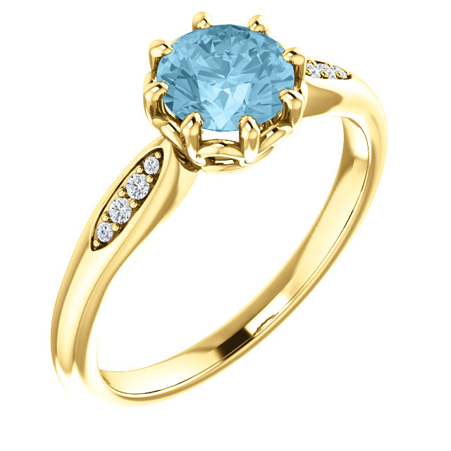 Very Nice 14 Karat Yellow Gold Aquamarine & .04 Carat Total Weight Diamond Ring