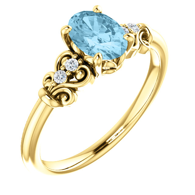Eye Catchy 14 Karat Yellow Gold Aquamarine & .04 Carat Total Weight Diamond Ring