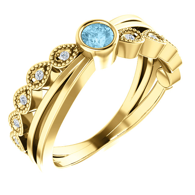 Great Gift in 14 Karat Yellow Gold Aquamarine & .05 Carat Total Weight Diamond Ring