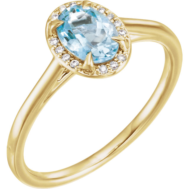 Chic 14 Karat Yellow Gold Aquamarine & .06 Carat Total Weight Diamond Ring