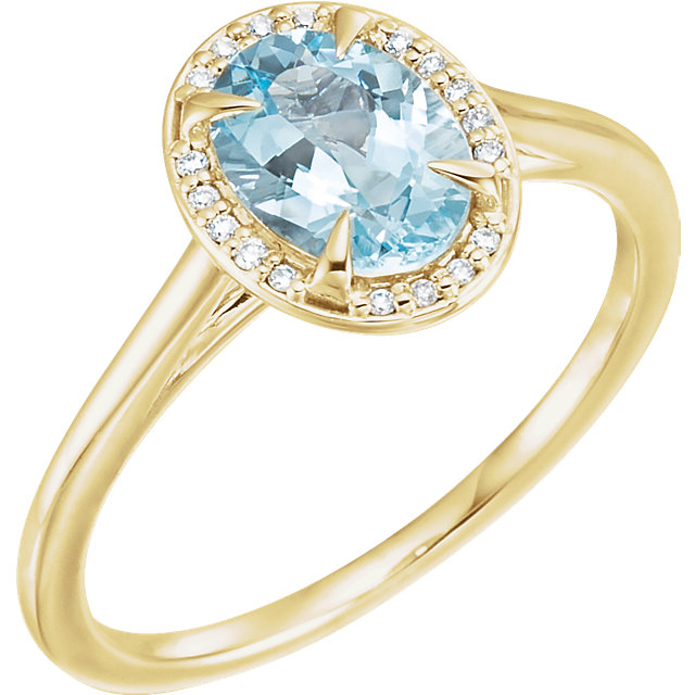 Fine Quality 14 Karat Yellow Gold Aquamarine & .06 Carat Total Weight Diamond Ring