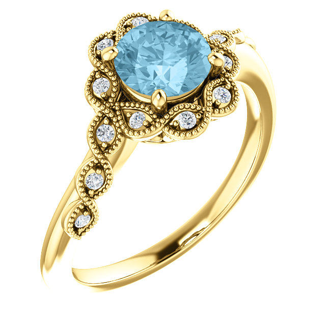 Perfect Gift Idea in 14 Karat Yellow Gold Aquamarine & .07 Carat Total Weight Diamond Ring