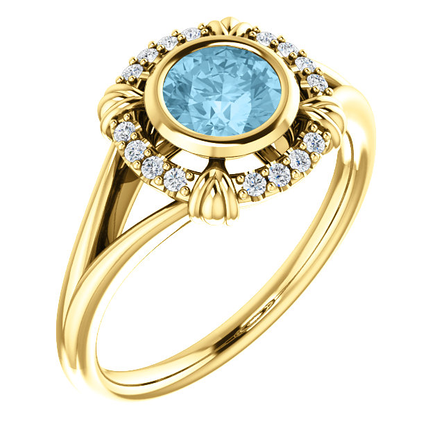 Wonderful 14 Karat Yellow Gold Aquamarine & .08 Carat Total Weight Diamond Ring