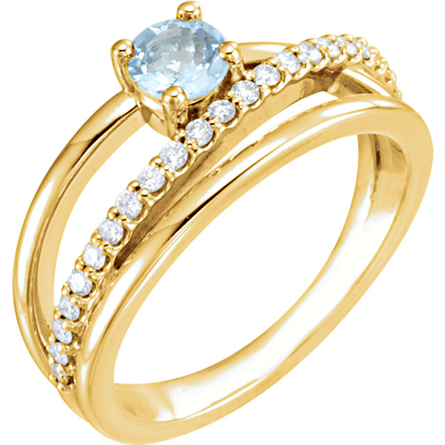 Great Deal in 14 Karat Yellow Gold Aquamarine & 0.25 Carat Total Weight Diamond Ring