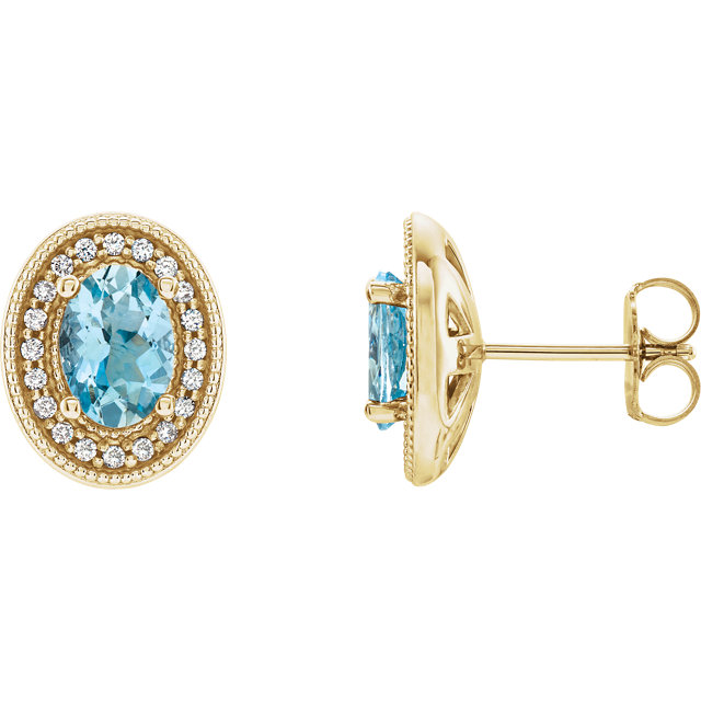 Fine Quality 14 Karat Yellow Gold Aquamarine & 0.20 Carat Total Weight Diamond Halo-Style Earrings