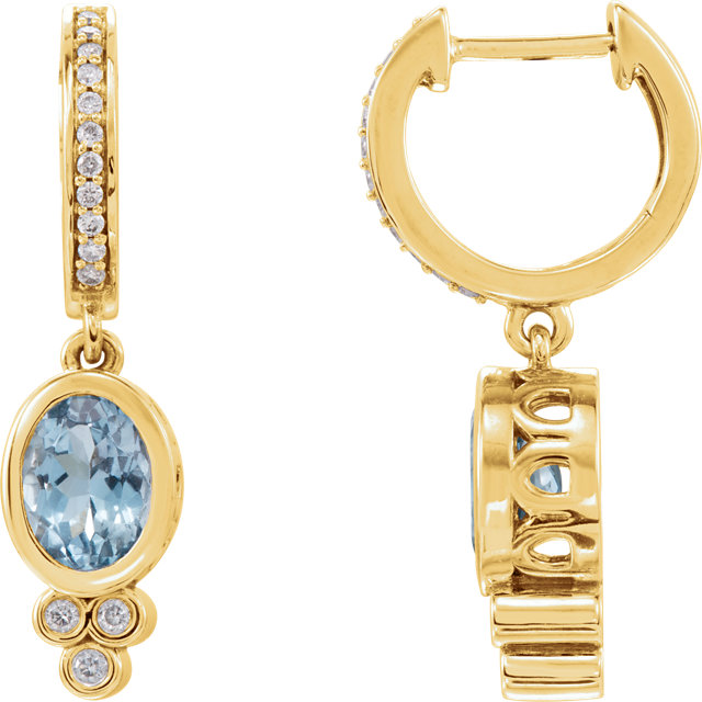 Perfect Jewelry Gift 14 Karat Yellow Gold Aquamarine & 0.17 Carat Total Weight Diamond Earrings