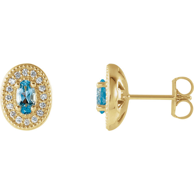Appealing Jewelry in 14 Karat Yellow Gold Aquamarine & 0.17 Carat Total Weight Diamond Halo-Style Earrings