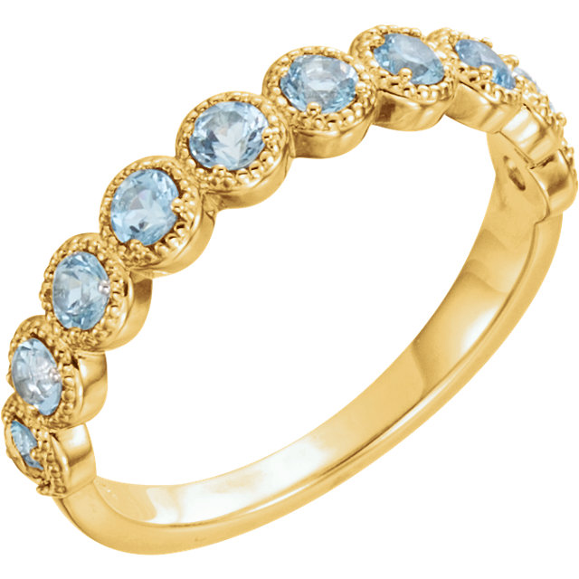 Easy Gift in 14 Karat Yellow Gold Aquamarine Beaded Ring