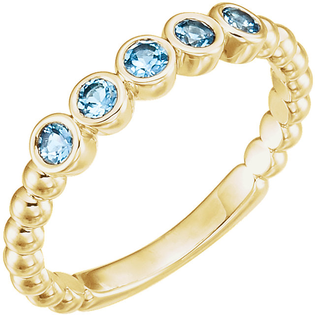 Appealing Jewelry in 14 Karat Yellow Gold Aquamarine Bezel-Set Beaded Ring