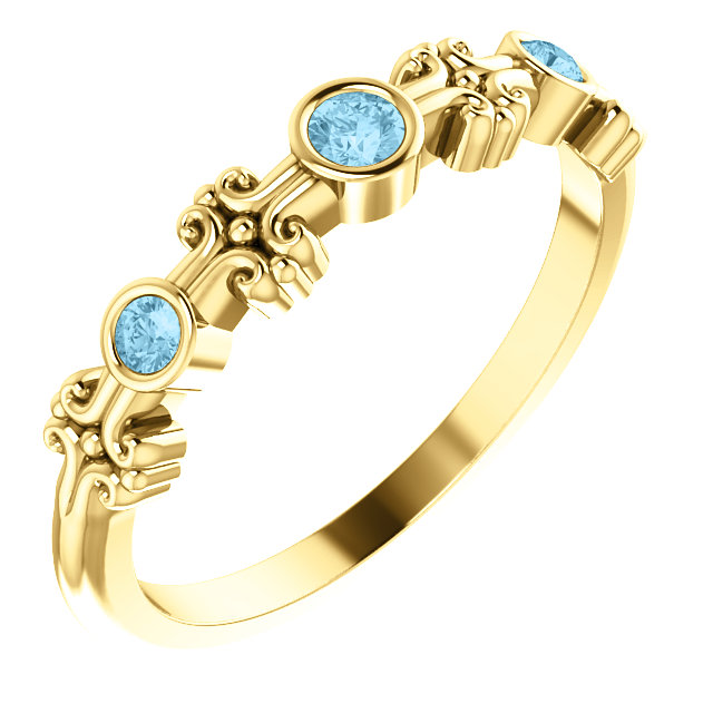Surprise Her with  14 Karat Yellow Gold Aquamarine Bezel-Set Ring