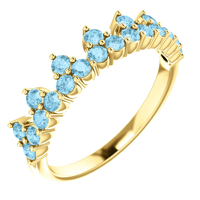 Very Nice 14 Karat Yellow Gold Aquamarine Crown Ring