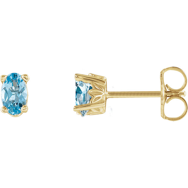 Great Gift in 14 Karat Yellow Gold Aquamarine Earrings