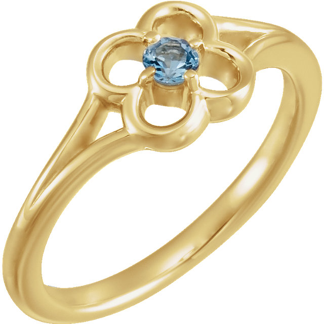 Must See 14 KT Yellow Gold Aquamarine Flower Youth Ring