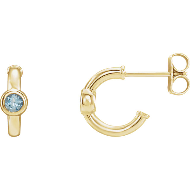 Stunning 14 Karat Yellow Gold Aquamarine J-Hoop Earrings