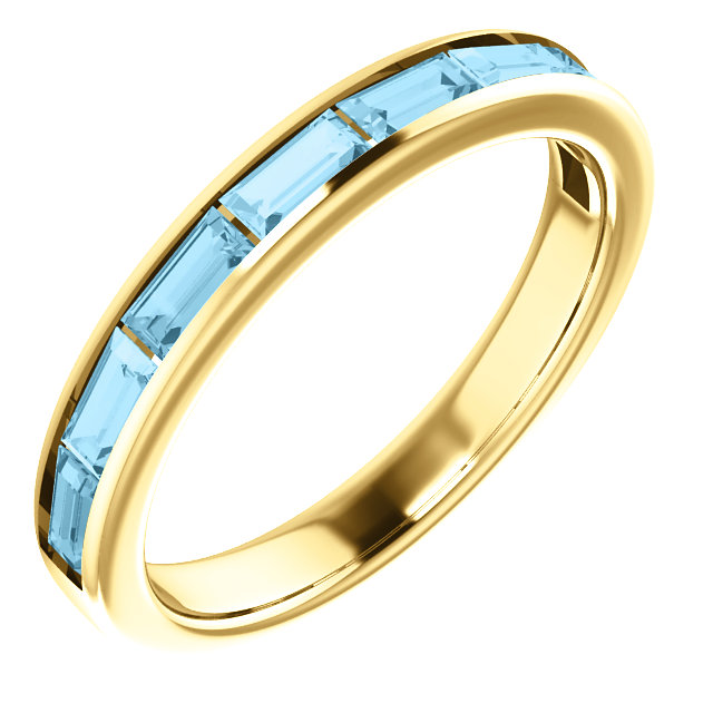 Appealing Jewelry in 14 Karat Yellow Gold Aquamarine Ring