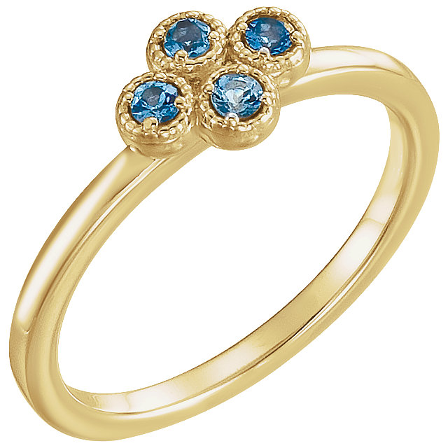 Perfect Gift Idea in 14 Karat Yellow Gold Aquamarine Ring
