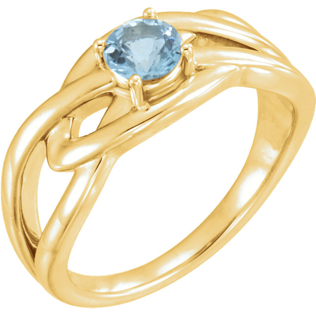 Surprise Her with  14 Karat Yellow Gold Aquamarine Ring