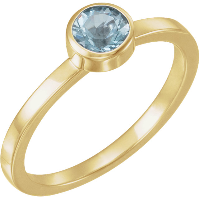 Great Deal in 14 Karat Yellow Gold Aquamarine Ring