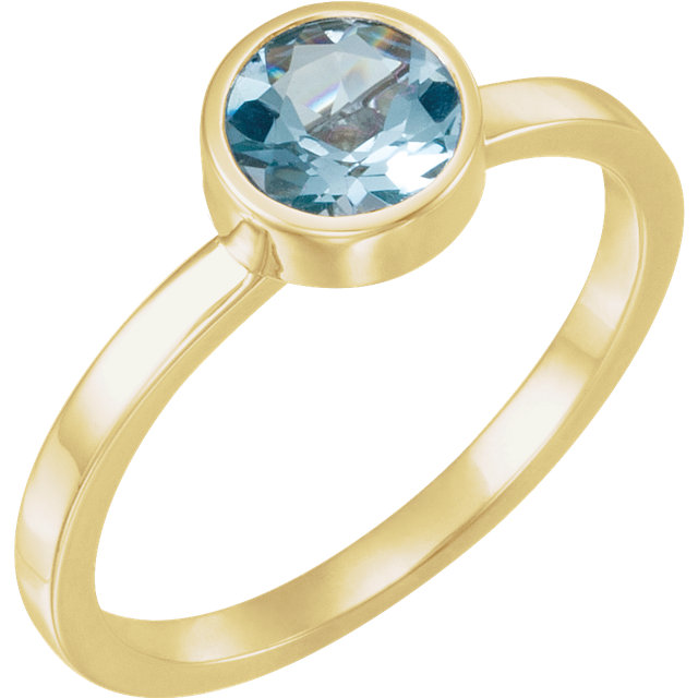 Contemporary 14 Karat Yellow Gold Aquamarine Ring