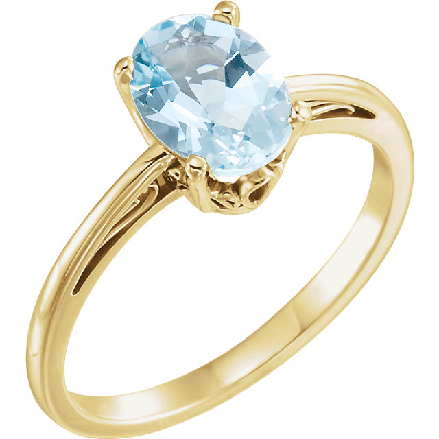 Great Buy in 14 Karat Yellow Gold Aquamarine Ring