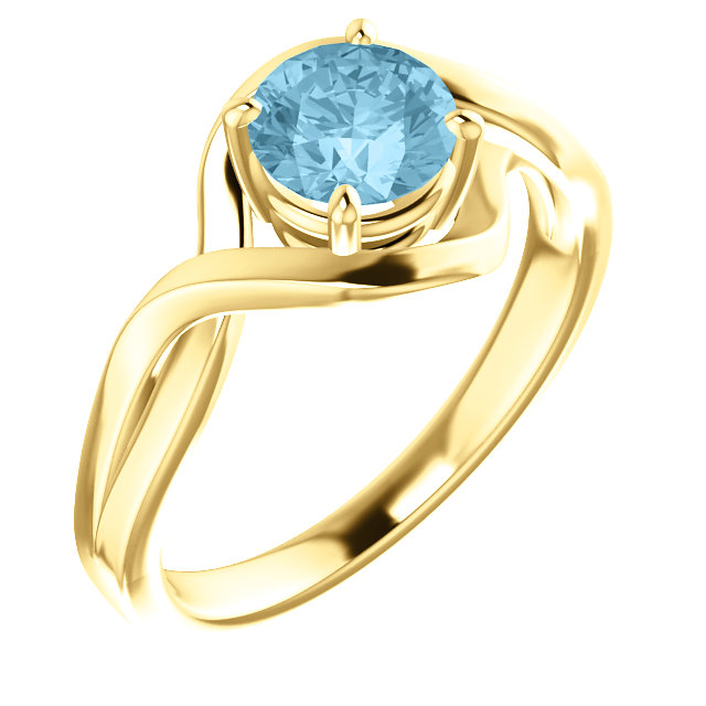 Perfect Jewelry Gift 14 Karat Yellow Gold Aquamarine Ring