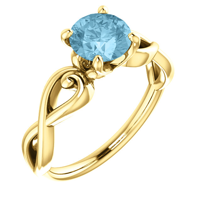 Wonderful 14 Karat Yellow Gold Aquamarine Ring