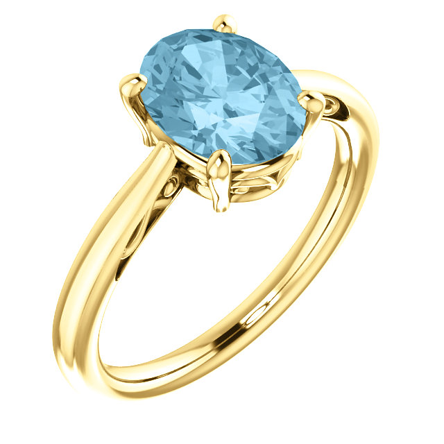 Very Nice 14 Karat Yellow Gold Aquamarine Ring