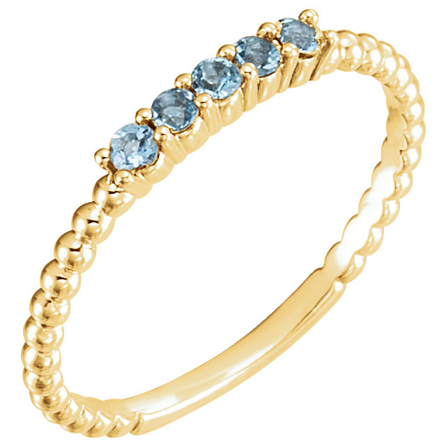 Eye Catchy 14 Karat Yellow Gold Aquamarine Stackable Ring